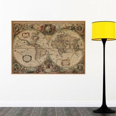 Newest Retro Vintage Globe Old World Map Matte Brown Paper Poster Home Decor FI