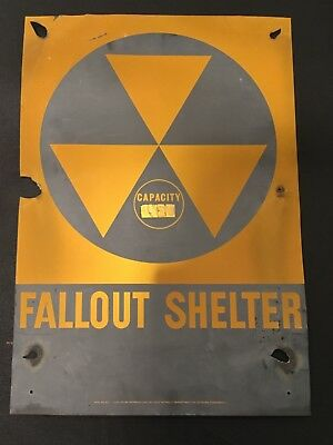 """VTG Government Issue 1950's MCM METAL Fallout Shelter Sign 14"""" X 20"""" ATOMIC AGE"""