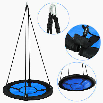 "40"" Kids Round PE Rope Tire Saucer Oxford Tree Web Net Swing Nest, 440lbs, Blue"