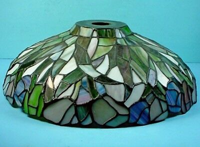 Vintage Tiffany Style Multi-Colored Stained Glass 'Long Leaves' Lampshade