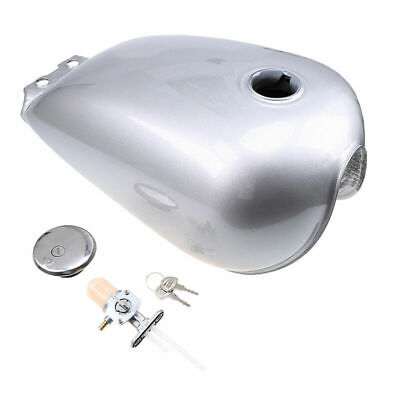 9L UK Replacement Kit Metal Fuel Gas Can Tank for Suzuki Silver GN125