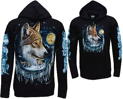 WOLF Magical Wolves Native Indian Wolf Dreamcatcher Animal Wild Hoodie M L XL