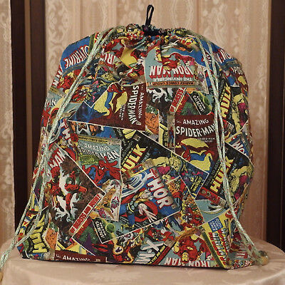 """CUTE Handmade BIG Laundry Bag made with the famous """"Avengers"""" printed fabric NEW"""