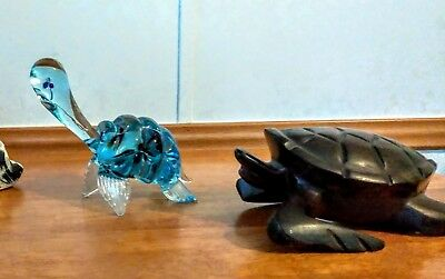 Two Collectible Turtles (Glass & Ironwood)