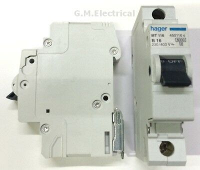Hager 16 Amp Type B 16A Mcb Breaker Single Pole Phase B6 Mt116 6Ka Nb116