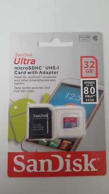 Sandisk 32GB Ultra Micro SD SDHC TF 80MBs UHSI Class 10 Memory Card With Adapter