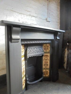 Original Slate Fire Surround WITH Original Cast Iron Tiled Fireplace Insert