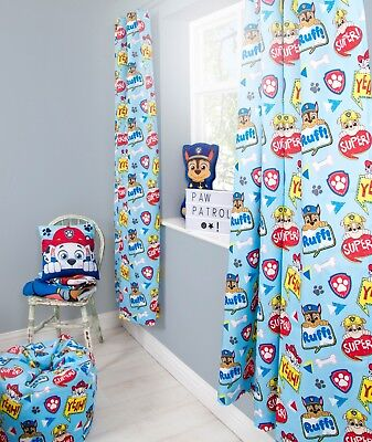 PAW PATROL 'PEEK' BLUE DESIGN CURTAINS PAIR - BOYS KIDS CHILDREN - 66 x 72 Inch