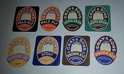 8 old Gray & Sons Brewers beer different bottle labels Ale, Home Brew & Stout