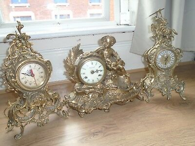 Three Heavy Louis Style Ornate Brass Mantle Clocks Quartz And Imperial