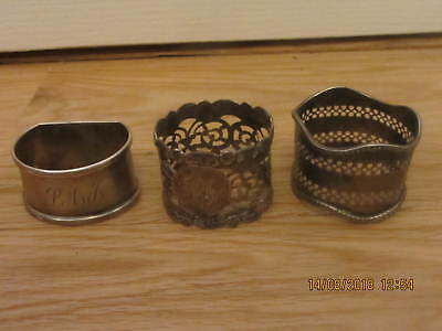 3 Assorted Sterling Silver Harked Napkin Rings Mis-Shapened Dented Job Lot