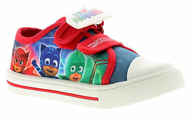 Boys P J Masks Blue /& Red Low Top Canvas Trainers Sports Shoes UK Sizes 5-12