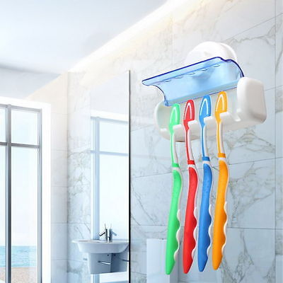 Easy Toothbrush Suction Cups Holder Stand 5 Racks Home Bathroom Wall Mount TM