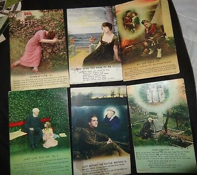 6 x  Bamforth Song Hymn Card Postcards, assorted mixed songs ivy folk somewhere