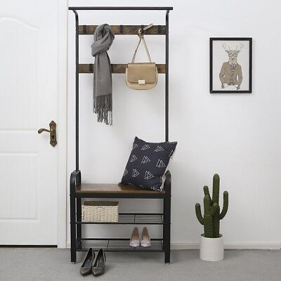Rustic Coat Rack Stand For Hallway Shoe Scarves Industrial Hall