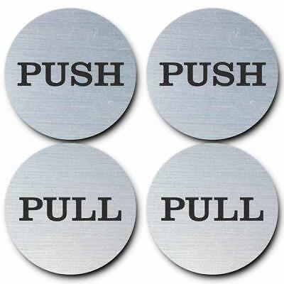 "2"" Round Push Pull Door Signs (Brushed Silver) - 2 sets (4pcs)"