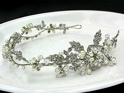 Handmade Austrian Rhinestone Crystal Side Floral  Bridal Wedding Tiara Headband