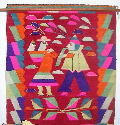 Oversize Older South American Native  Indian Textile Wall Art Artisan Tapestry