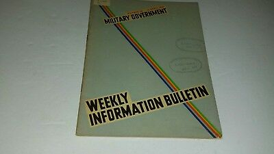 RARE MILITARY GOVERNMENT Weekly Information Bulletin WW 2 NO. 38 APRIL 22 1946