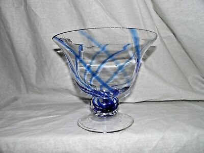 Vtg. Hand Blown Art Glass Clear Pedestal Footed Compote Bowl W/cobalt Blue Swirl