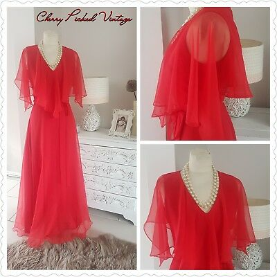 Vintage 70s Red Sheer Caped Romantic Maxi Dress Boho Whimsical Wedding Party 10
