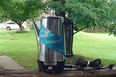 Vintage Fostoria Electric Stainless 10-Cup Coffee Maker with Original Label