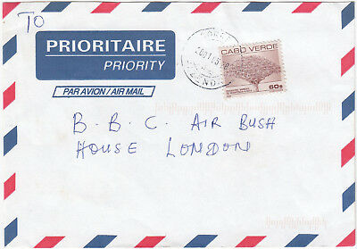 Q5071 Cape Verde comm. Air mail to UK, 2001; solo 60$ Dragoeiro stamp