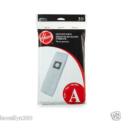 Genuine HOOVER Vacuum Bag Concept One Type A  #4010001A 3 pack  NEW!