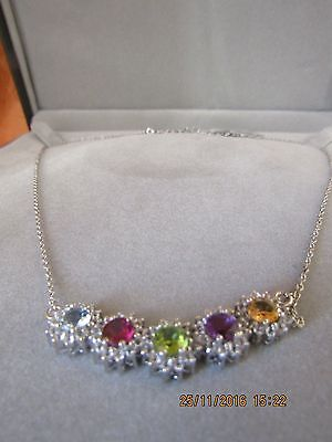 MULTI COLOUR GEMSTONES 925 SILVER NECKLACE - STUNNING! new!