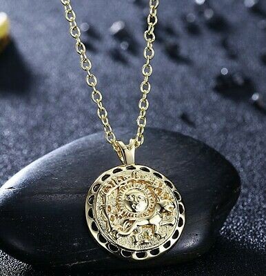 """18K Gold Plated Sun Coin Pendant Necklace 18"""" by Aventura Jewelry"""