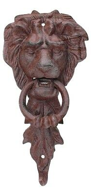 Door Knocker Large Iron shape Lion Head Antique style Rust in a rich brown color