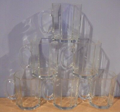 6 Arcoroc Octime Clear Glass Tall Cups Mugs lot 1