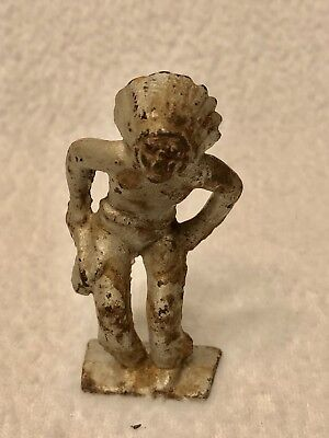 """Antique Vintage Painted Silver Cast Iron Native American Indian 3"""" Figurine Toy"""