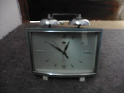 Vintage wind up Five Rams Chinese alarm clock with second hand and bell alarm