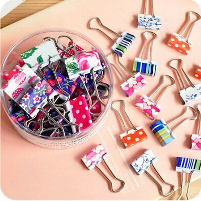 Lovely Cute Printing Style Metal Binder Clips/Paper Clips/ Clamps 1 Box 24 sets
