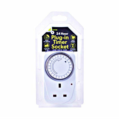 24 Hour Programmable Timer Uk Mains Wall Home Socket Cost Saving Plug In Switch