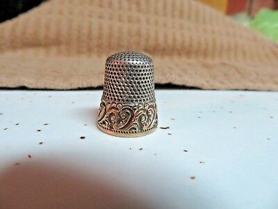 Antique 14k Gold And Sterling Silver Thimble size 8