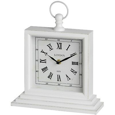 21cm Wide White Distressed Square London Table Mantelpiece Clock Modern Style