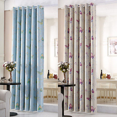 Butterfly Thermal Blackout Ready Made Eyelet Curtains - Dimout Energy Saving