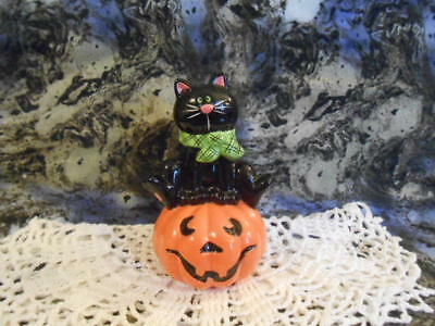 Glass Black Cat /Jack-O-Lantern - NWOT