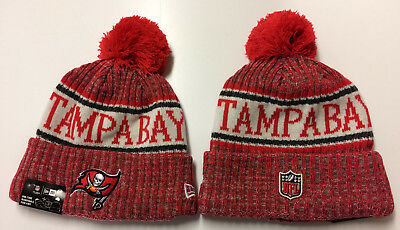 ad326920442f0f 2018 Tampa Bay Buccaneers New Era Knit Hat On Field Sideline Beanie  Stocking Cap
