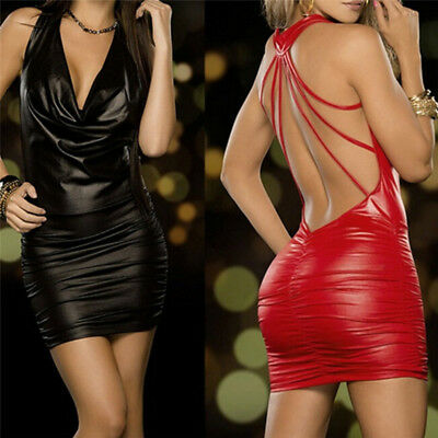 Donne sexy nero e rosso Wet Look Backless Bendage Faux Leather Bodycon