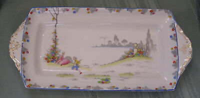 Paragon Star Hand Painted Handled Sandwich or Snack Tray - Excellent!