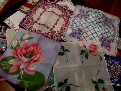 lot of 20 Vintage stunning floral hankies most 11 1/2  to 13 1/2""
