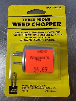 Dare THREE PRONG Electric Fence Fencer WEED CHOPPER - Made in USA 482-3 Switch
