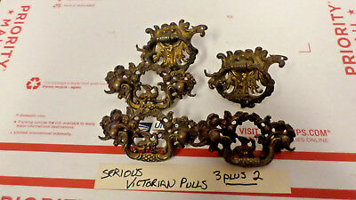 Lot of 5 Cast Brass Victorian Drawer Pulls ornate bird design w/ roses 1800s