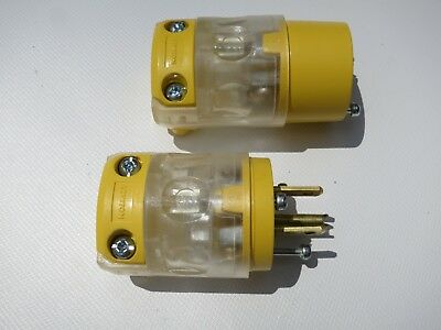 New! Leviton 15-Amp/125 Volt Lighted LED Round Connector Set / 1 Male/1 Female