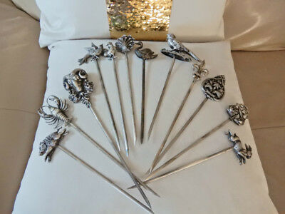 **So Rare 12psc ANTIQUE FRENCH SILVER Marked H-France C Animal Meat Skewers