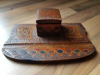 Antique Carved and hand painted  Wooden Inkwell Scandinavian design
