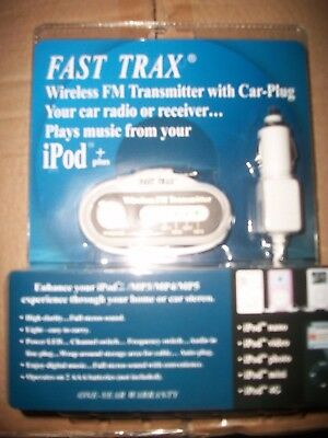 Fast Trax Wireless FM Transmitter with car plug for Your iPod +  New